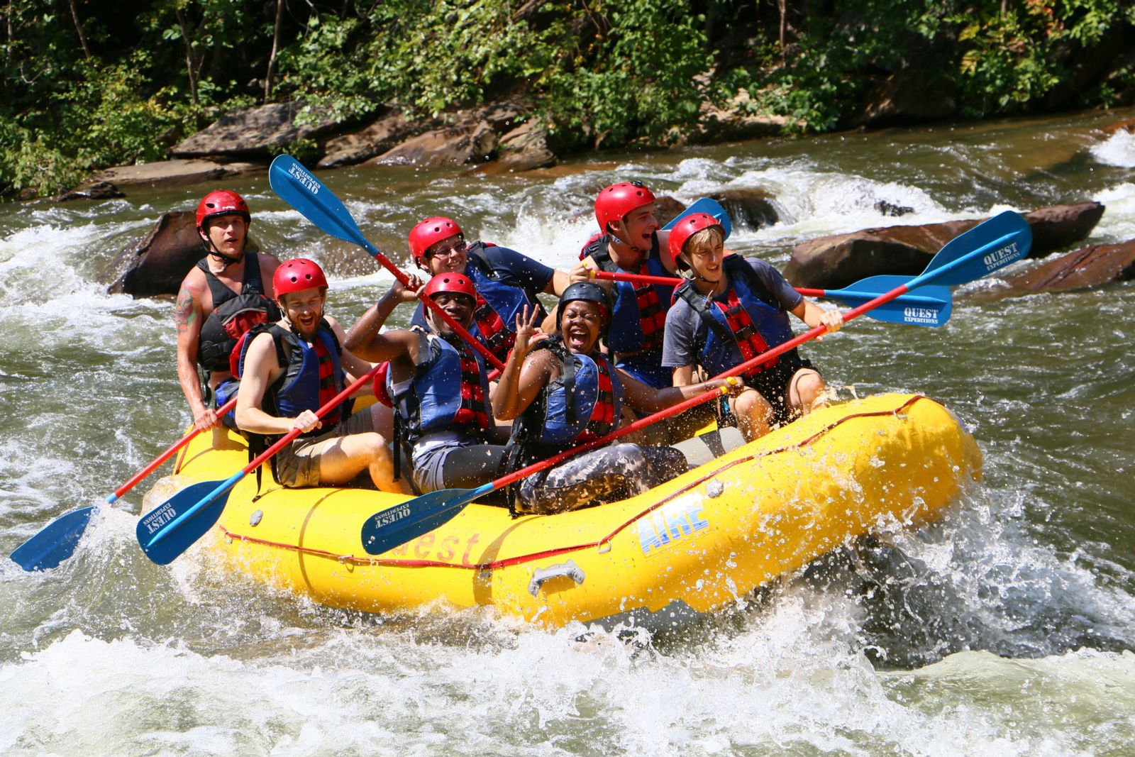 Photo of students rafting